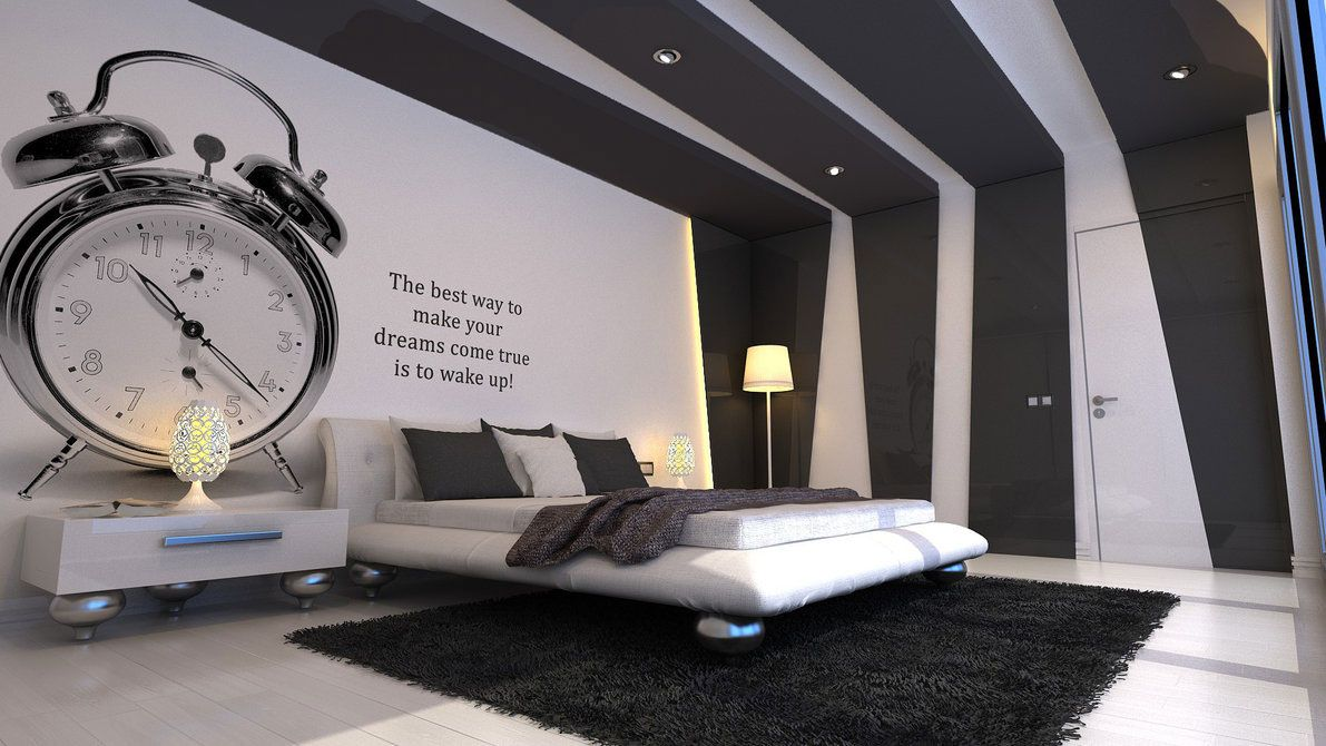 Kids Bedroom. Cool ideas for a Boys Room Design Pictures: Awesome Big Clock Wall & unique cool room designs for guys with white and black combine color ...