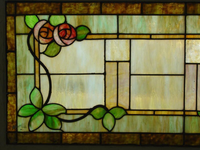 arts and crafts stained glass window | ... Oak Furniture - Large Vintage Arts and Crafts Stained Glass Window