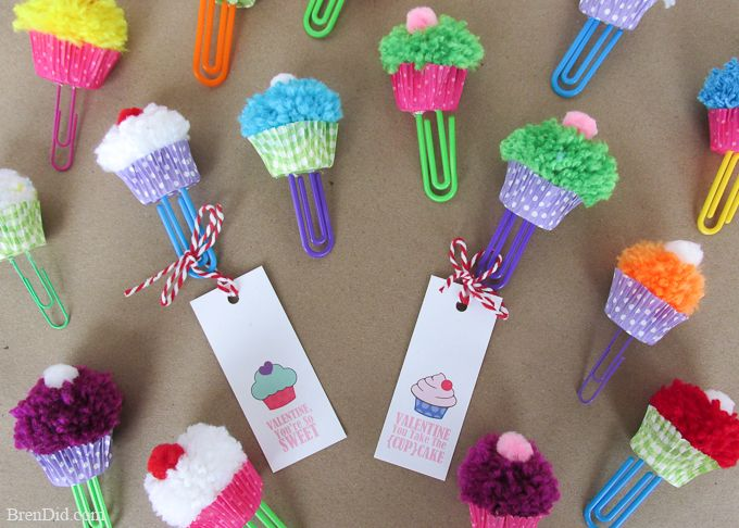 Cupcake bookmark craft free printable valentine cards for Cute pom pom crafts