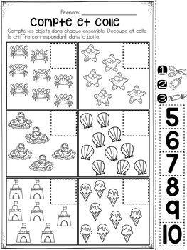 french summer no prep math worksheets cut paste maternelle kes yap t r okul ncesi ve. Black Bedroom Furniture Sets. Home Design Ideas