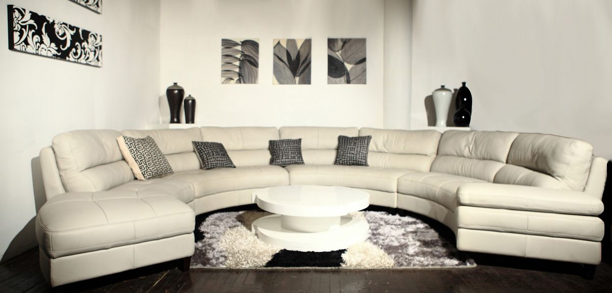 Curved High End Living Room Sectionals Genuine Italian Leather