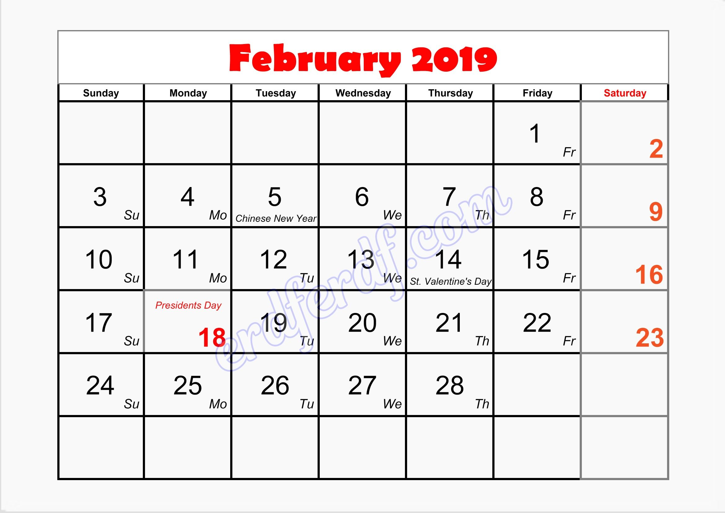 2 February Monthly Calendar Template 2019 Printable Monthly