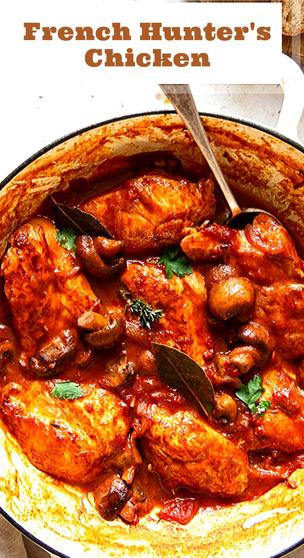 French Chicken Chasseur Recipe In 2020 Chicken Chasseur Recipe French Cuisine Recipes Stew Chicken Recipe