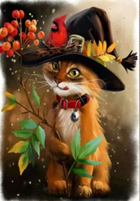 Cat Witch Hat, Cardinal. 5D Diamond Painting Art Kit. Round drills, Full drill. Combined S&H to Save. 30x40cm