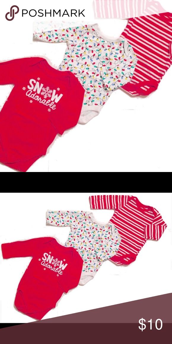 Children s Place Set Never been used. Long sleeve onesies. White w   Christmas lights. Red with