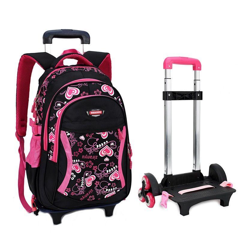 Children Trolley School Bag Backpack Wheeled School Bag For Grils ...