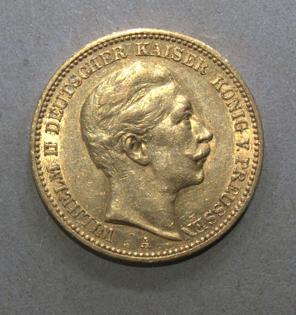 Germany Prussia 1899 A 20 Mark Wilhelm Ii Gold Coin Km 521 Gold Coins Germany And Prussia Coins