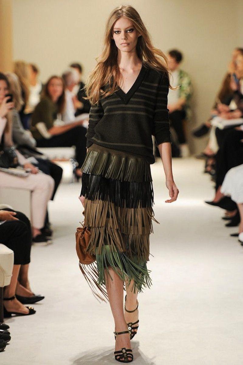 Sonia Rykiel SS2015 fringe leather skirt