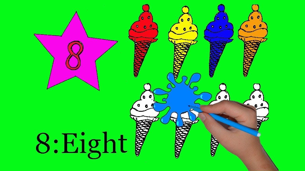 Learn colors and numbers Ice cream learn to count from 1 to 8 ...