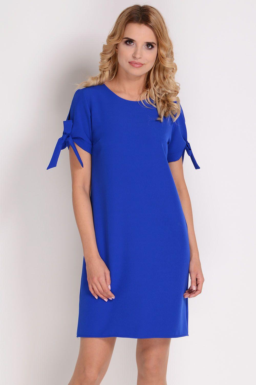 70ade5d0b59fd4 AVARO Elegancka sukienka z wiązaniem na rękawie SU-1349, Kolor: chaber