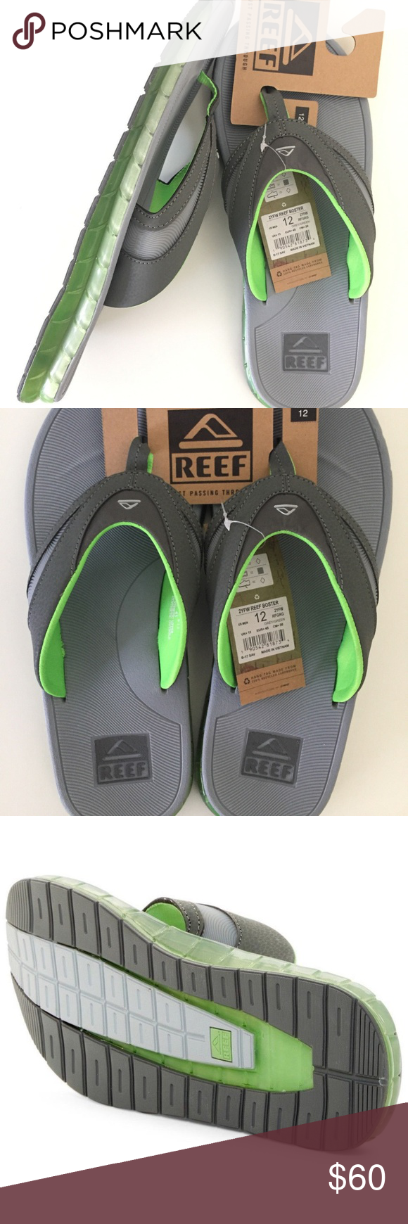Reef Boster Men'S 12 Slip On Flip Flop Sandals Gel New With reef boster sandals Shoes