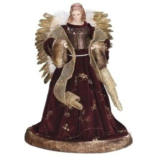 """Roman 16"""" Burgundy and Gold Sequin and Fur Trim Angel Christmas Tree Topper - Unlit at Sears.com"""