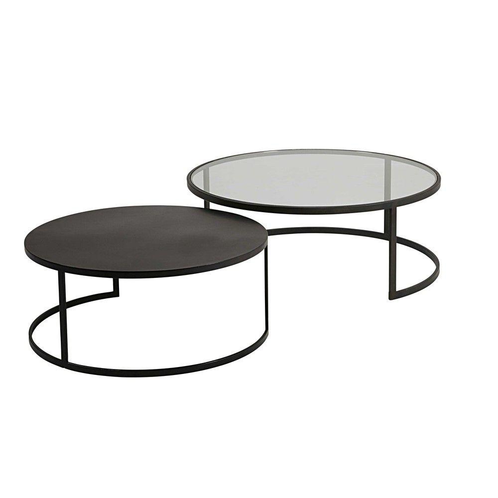 Tables Gigognes En Verre Trempe Et Metal Noir Table Centre