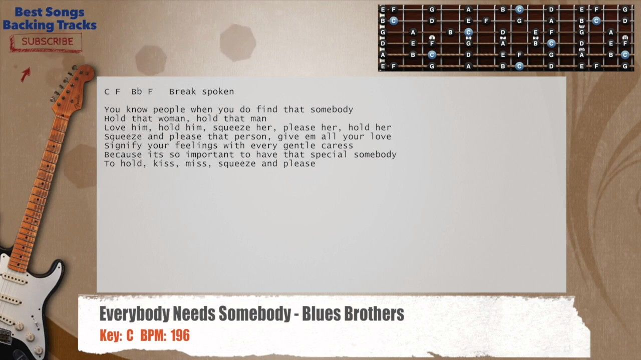 Everybody Needs Somebody - Blues Brothers Guitar Backing Track with chords and lyrics