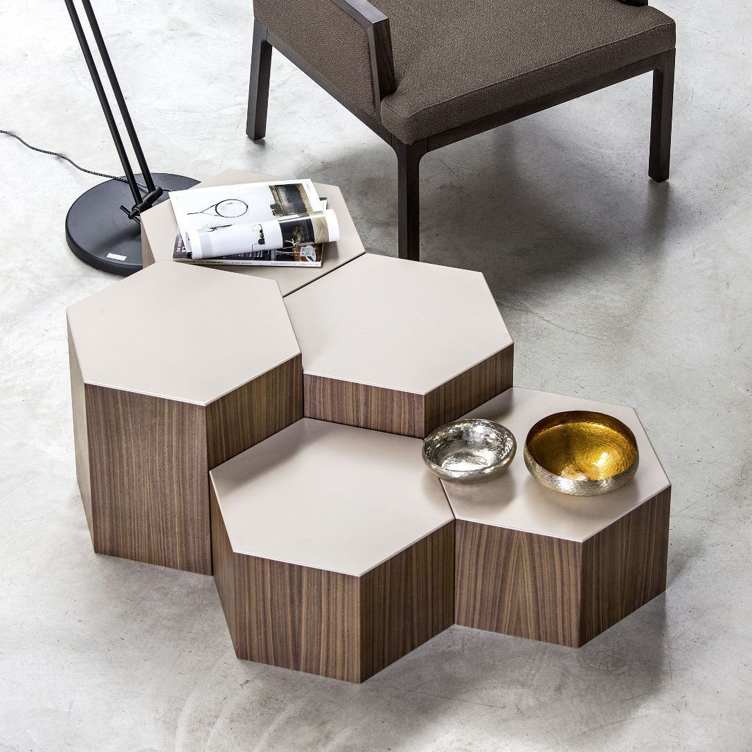Coffee Table / Hexagonal / Contemporary / Walnut SIX Bross Italia