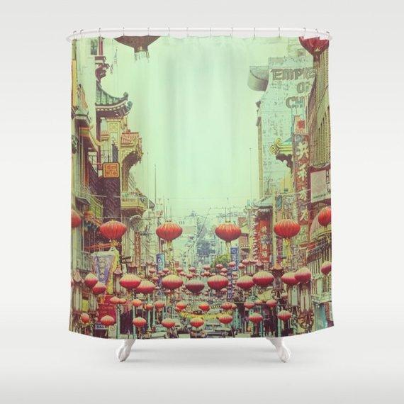 Photo Shower Curtain Chinese Red Lanterns Custom Shower