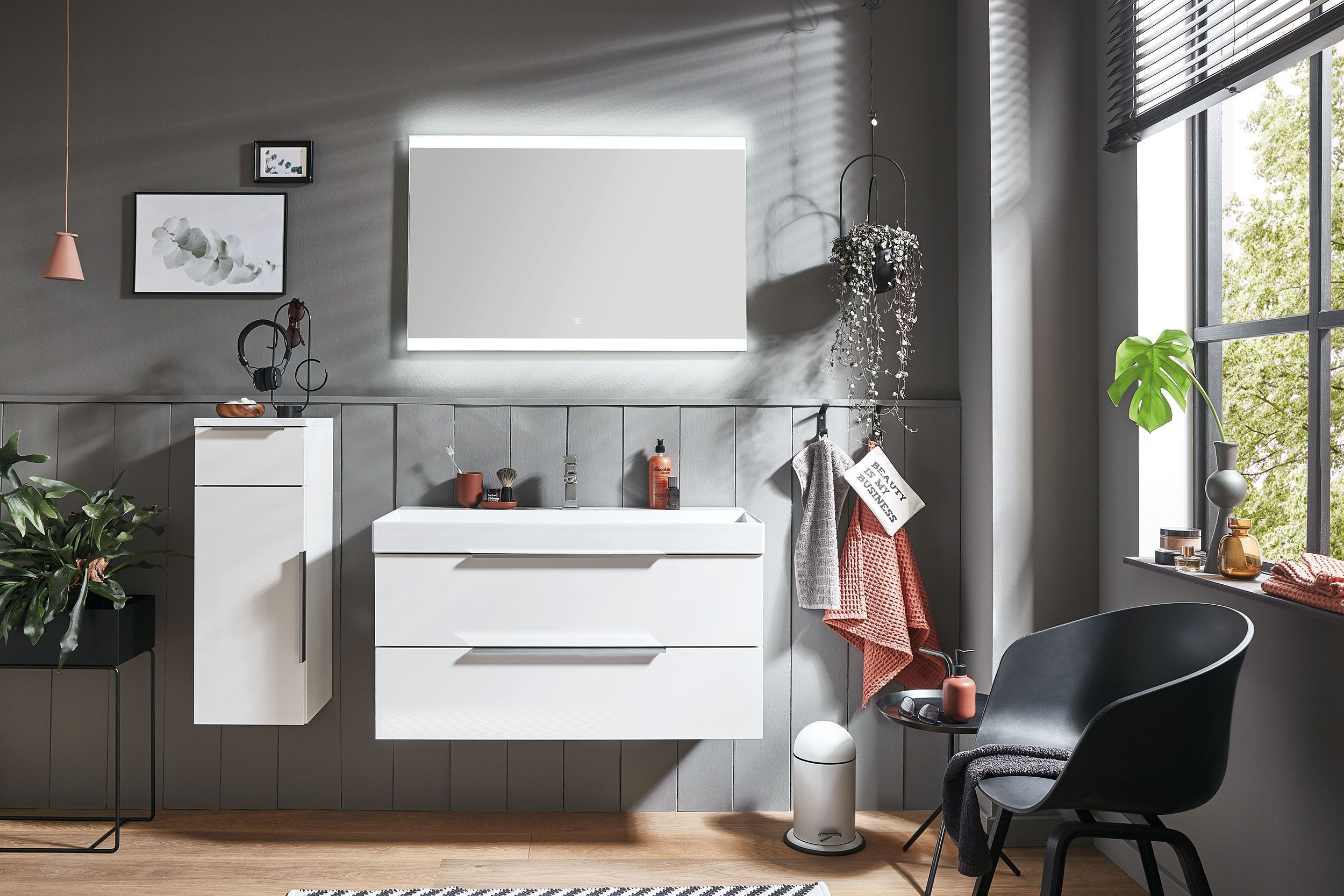 Puris Badezimmer 4landa In Weiss Hochglanz In 2020 Badezimmereinrichtung Badezimmer Raumgestaltung