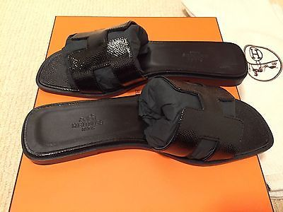 Bnib Authentic Hermes Oran H Black Epsom Patent Leather