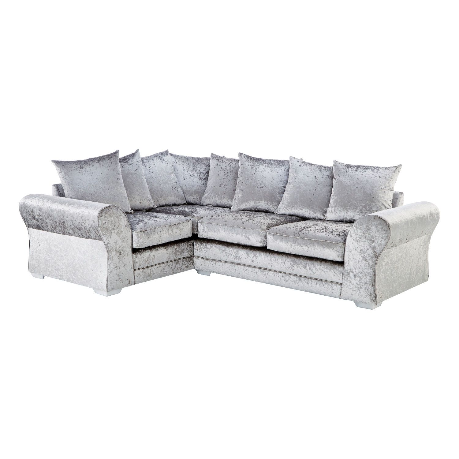 Jupiter Crushed Velvet 4 Seater Sofa Silver Grey Left Hand