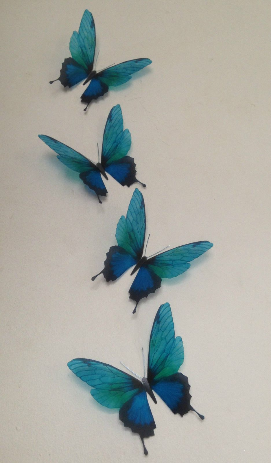 4 Vivid Teal Flying 3D Butterflies Wall Mounted Butterfly Art Home Accessories