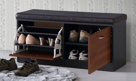 Featuring A Fold Out Door With Three Shoe Racks And Another Pull Out Door  With Two Shelves, This Storage Bench Holds Up To 10 Pairs Of Shoes