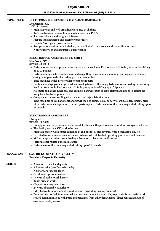 Assembler Job Description For Resume
