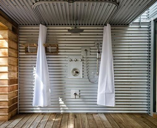 Outdoor Shower Using Curtain Tracks Ed Leimgardt