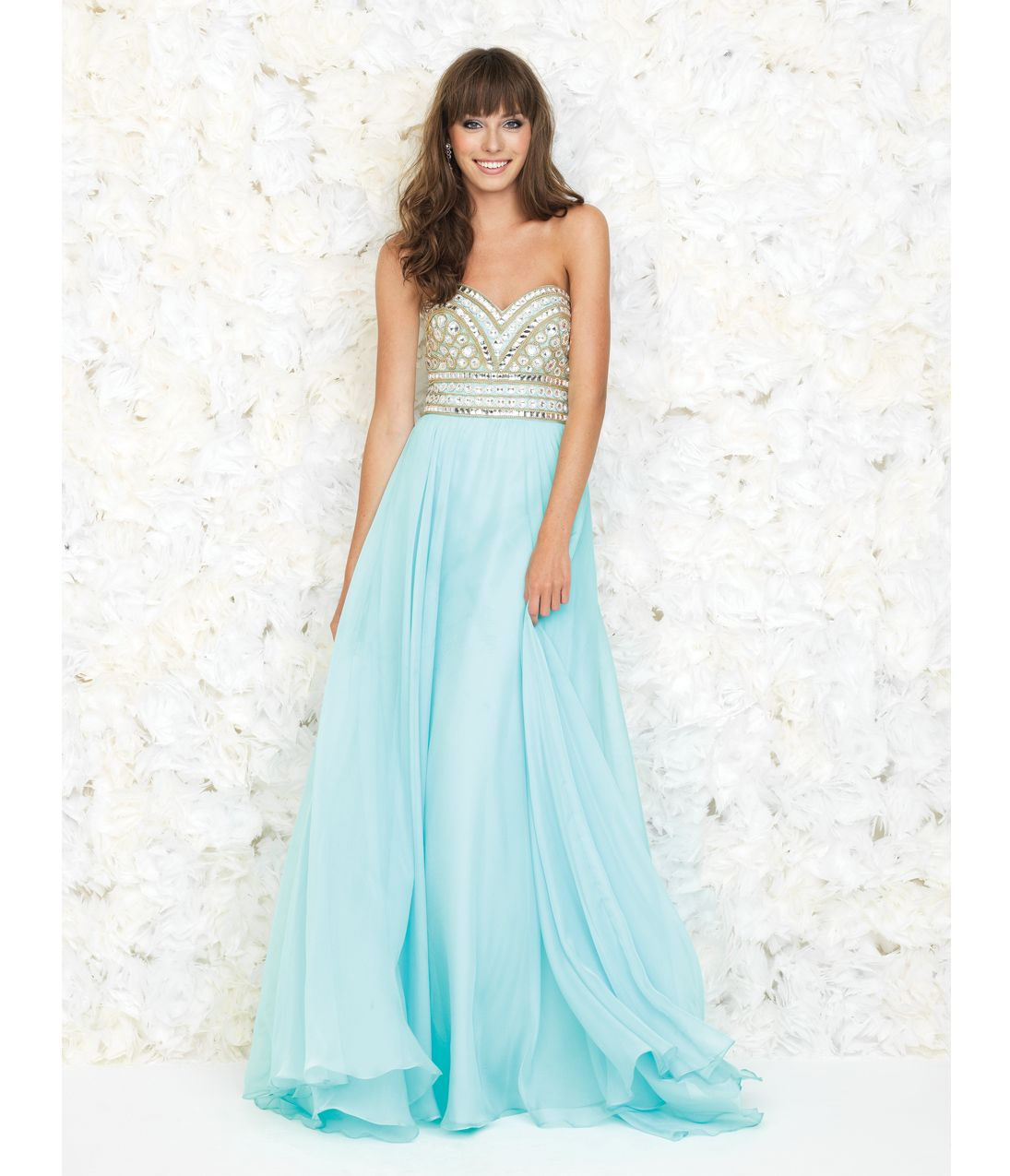 Water Blue Strapless Embellished Chiffon Gown | Long dress ...