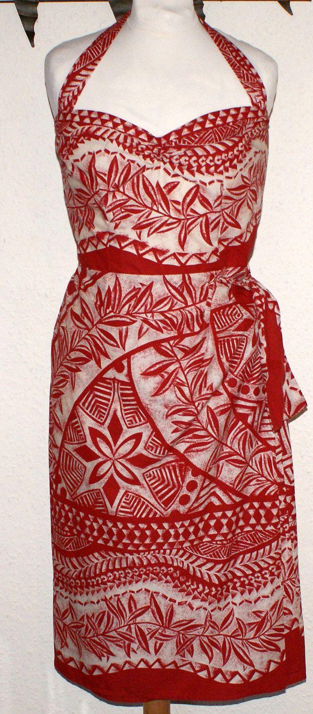 1950s vintage inspired repro bombshell Hawaiian sarong dress S red ...
