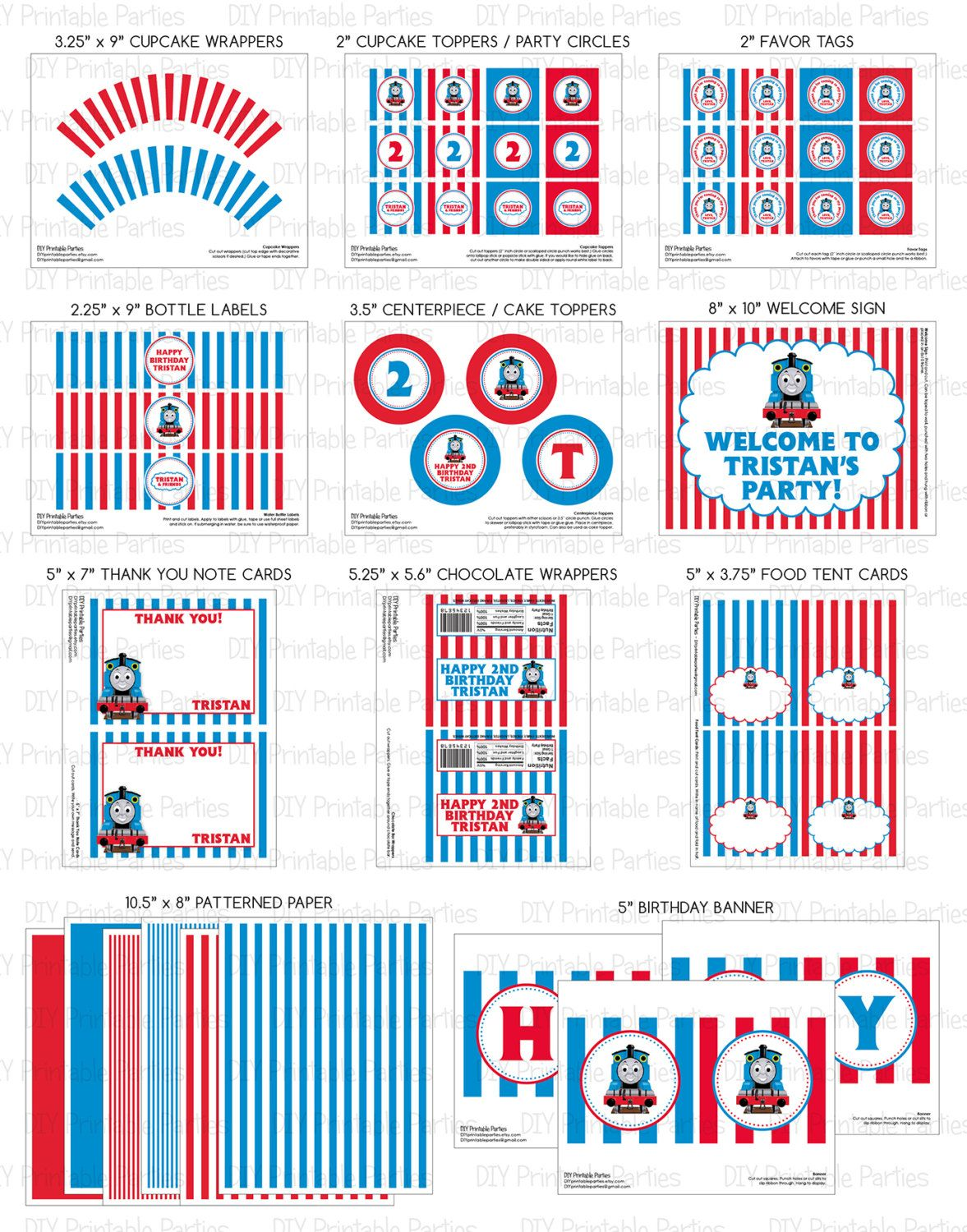 Printable DIY Blue and Red Thomas the Train Theme Personalized SMALL ...