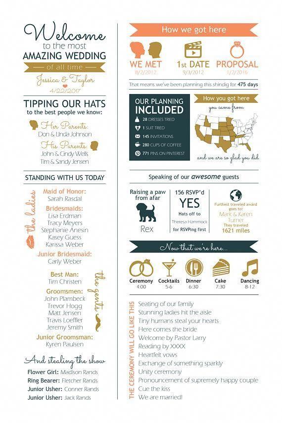 Custom Infographic Wedding Ceremony Program In 2020 Wedding Infographic Wedding Ceremony Programs Ceremony Programs