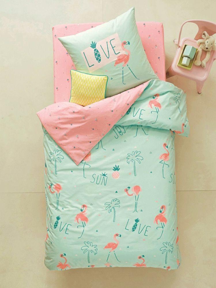 flamingo deko kinder schlafzimmer mädchen bettwäsche tropisch rosa