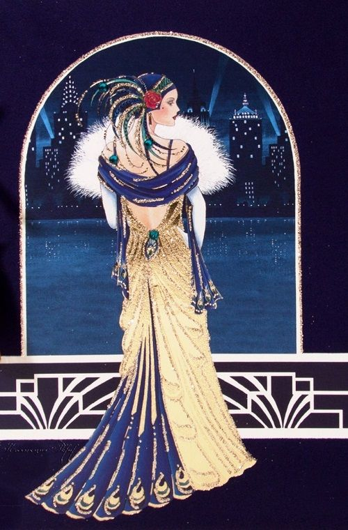 Clintons Art Nouveau Cards Birthday Deco Cards Beautiful Lady Art