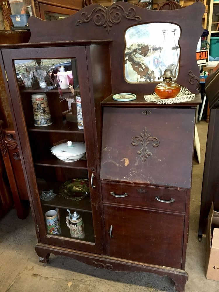 Antique Oak Secretary Desk Side By Side Bookcase & Mirror - Antique Oak Secretary Desk Side By Side Bookcase & Mirror