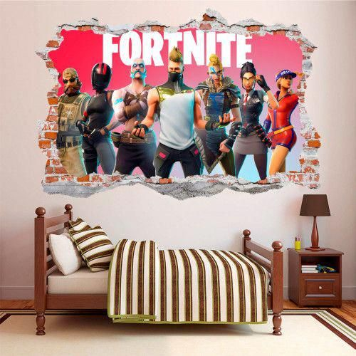 fortnite 3d broken smashed wall decal wall sticker wall on wall stickers for bedroom id=30107