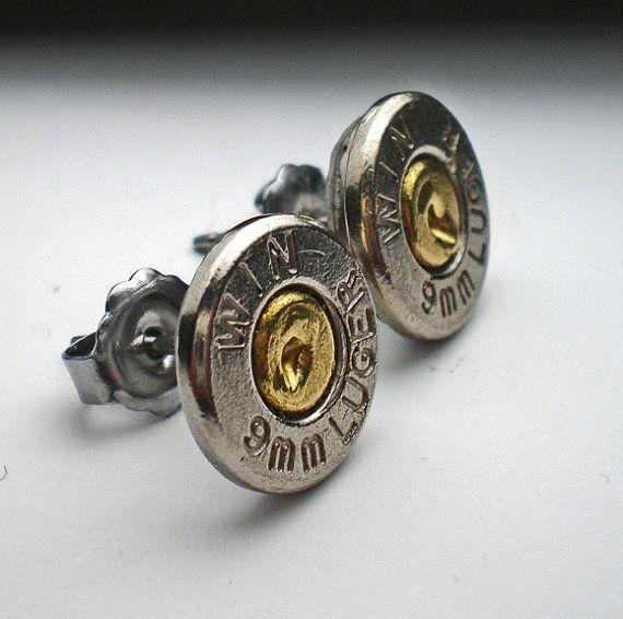 9mm Winchester nikkel dun gesneden nikkel Bullet hoofd Stud Post oorbellen Bullet sieraden Steampunk  Weegt minder dan 1 ounce elke oorbel.
