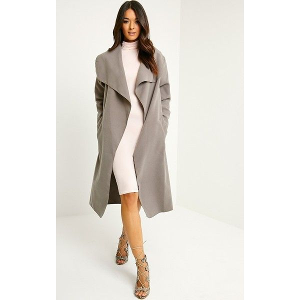 Veronica Latte Oversized Waterfall Belt Coat (155 RON) ❤ liked on Polyvore