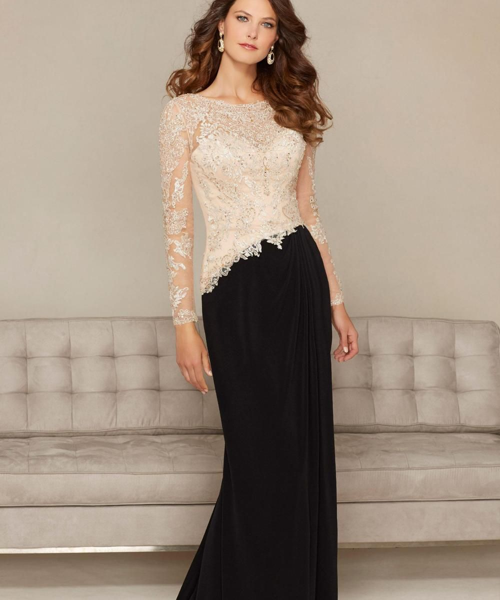 Charming jewel long sleeve formal evening dresses vintage for Mother in law wedding dresses
