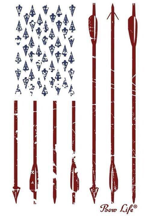 American flag. Arrows. Broadheads.