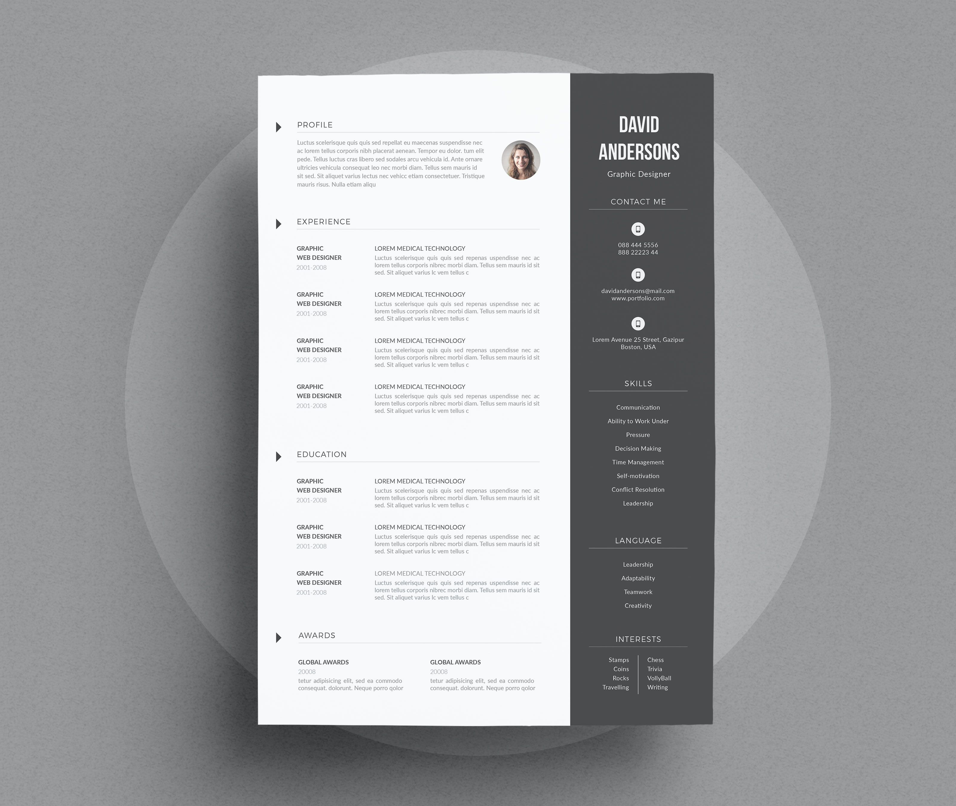 Clean modern resumecv template to help you land that