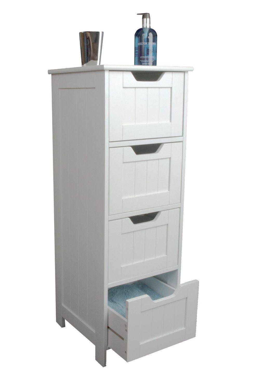 Slim white wood storage cabinet - four drawers - bathroom, bedroom ...