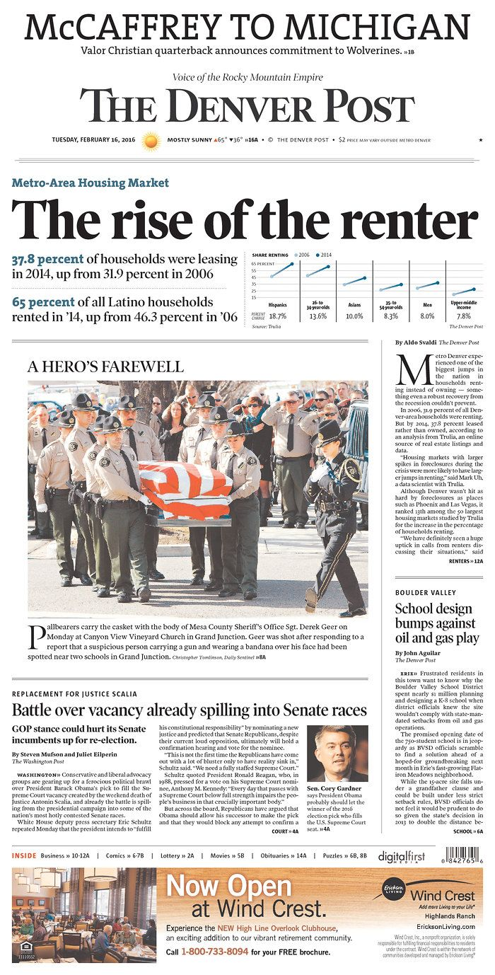 #20160216 #USA #Denver #COLORADO #TheDenverPost Tuesday FEB 16 2016 http://www.newseum.org/todaysfrontpages/?tfp_show=80&tfp_page=1&tfp_id=CO_DP