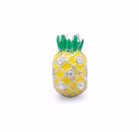 Yellow Pineapple Story Bead with Crystal