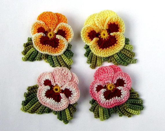Photo of Hand Dyed Flower Pin, Irish Crochet Flower Brooch, Ready to Ship! Choice of Color, Sold Individually