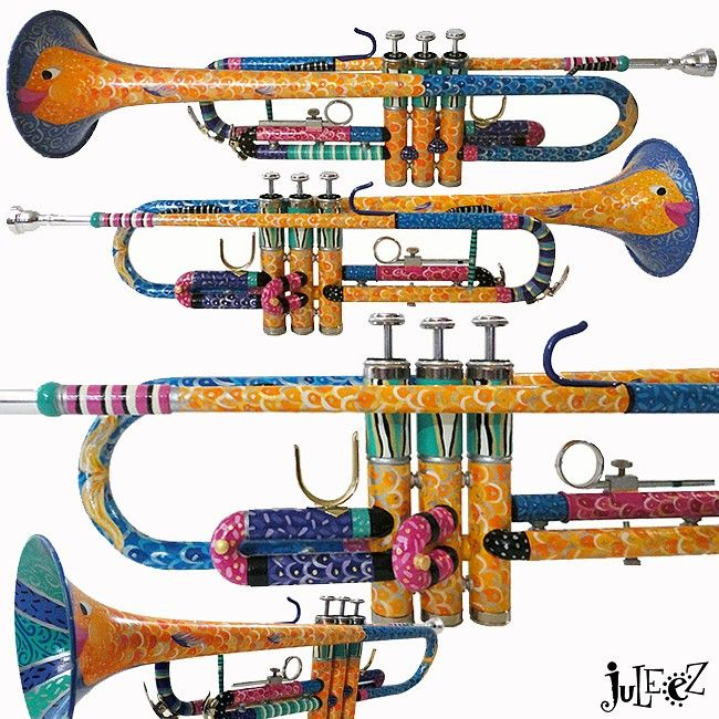 Juleez Custom Trumpets, hand painted custom cornets, painted french horn, custom painted trombone, colored trumpets and trumpet art, colorful trumpet gifts by artist Julie Borden