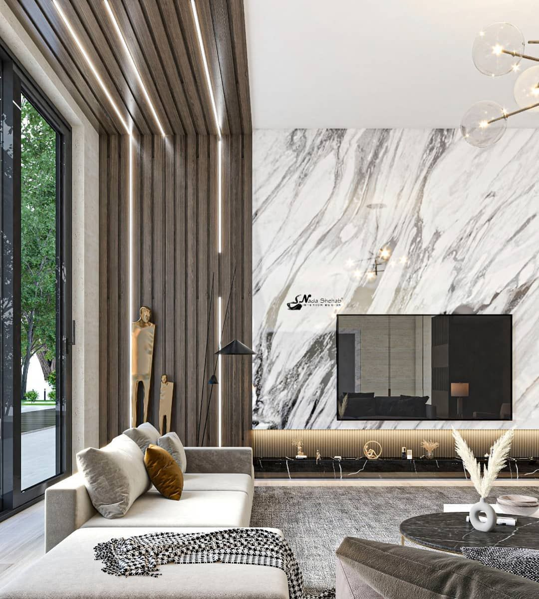 Nada Shehab Designs On Instagram Form Our New Work Contemporary Living Space Design And Visualiza Contemporary Living Spaces Space Design Contemporary Living New contemporary living room