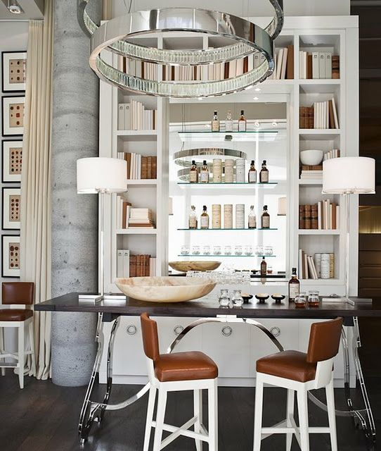 Dining Room: Bookcase as a bar - mirror back (Divided with ...