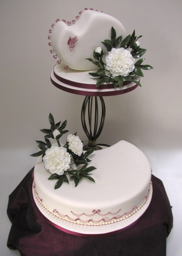 Unusual 2 Tier Wedding Cake With Beautifully Molded Peonies And
