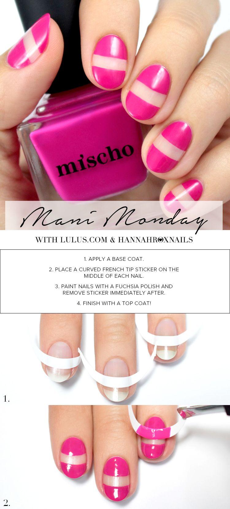 Mani monday fuchsia negative space nail tutorial nail art