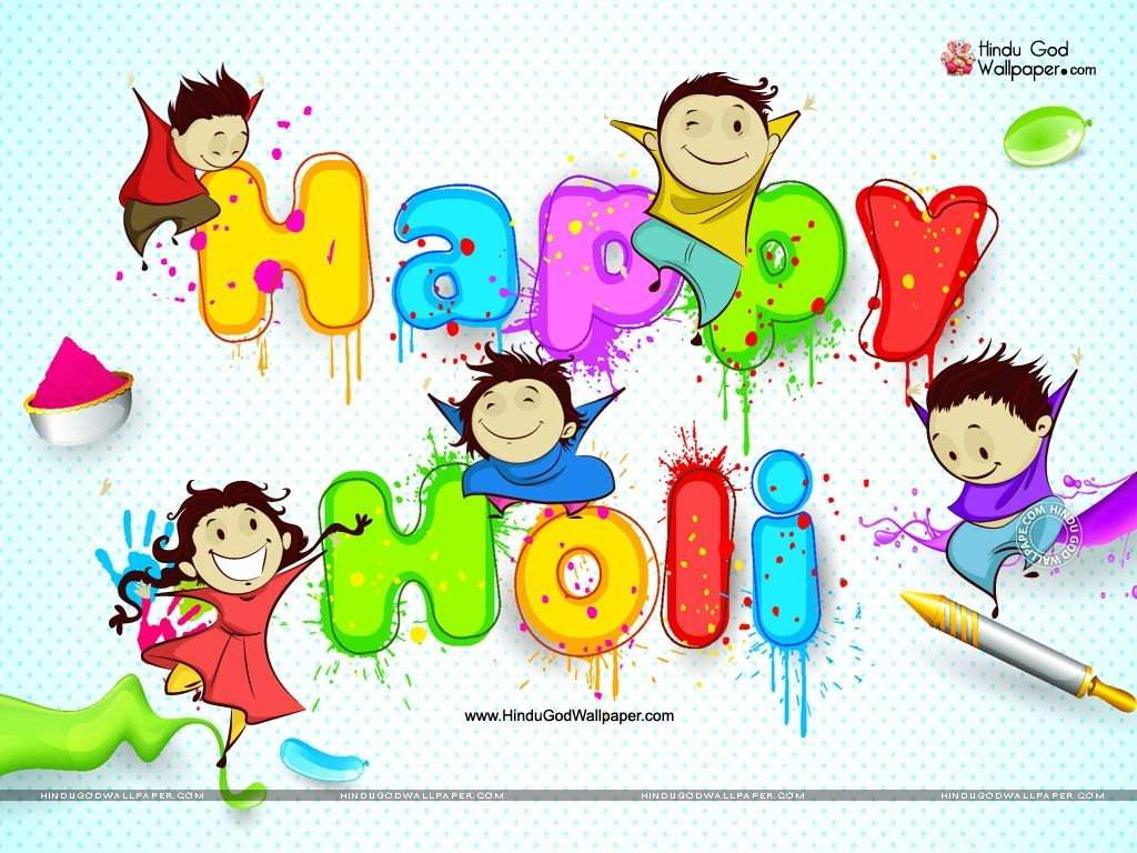 Holi Cartoon Wallpapers Holi wishes images, Happy holi